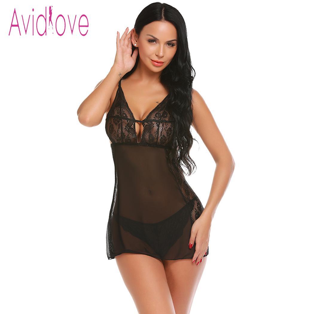 Buy Avidlove Women Sexy Lingerie Erotic Nightwear Underwear Transparent Costumes Lace Patchwork Babydoll G-string lenceria