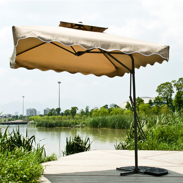 Gold Commercial Outdoor Garden Umbrellas Advertising Umbrella Patio Leisure Security Guard Post Large 3 Meters