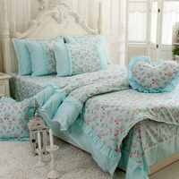 High grade blue floral single double bed on four sets 100% cotton bedding set quilt cover pillows bed skirts bundling sales