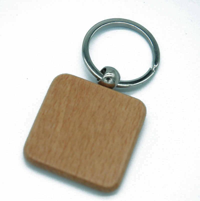 20 pçs em branco redondo retângulo chaveiro de madeira promoção diy personalizado chaveiros de madeira chaveiros chaveiro presentes promocionais
