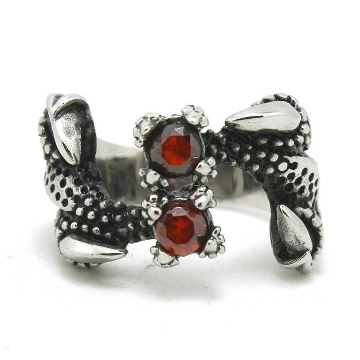 النسر مخالب حلقة مع الأحمر حجر الكريستال 316L الفولاذ المقاوم للصدأ الرجال بنين تلميع خاتم راكبي دراجات