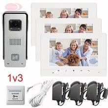 For 3 Apartments Color 7″ HD 700lines Video Door Phone Doorbell Support Weatherproof/Night Vision/Unlock/Monitor/Video function