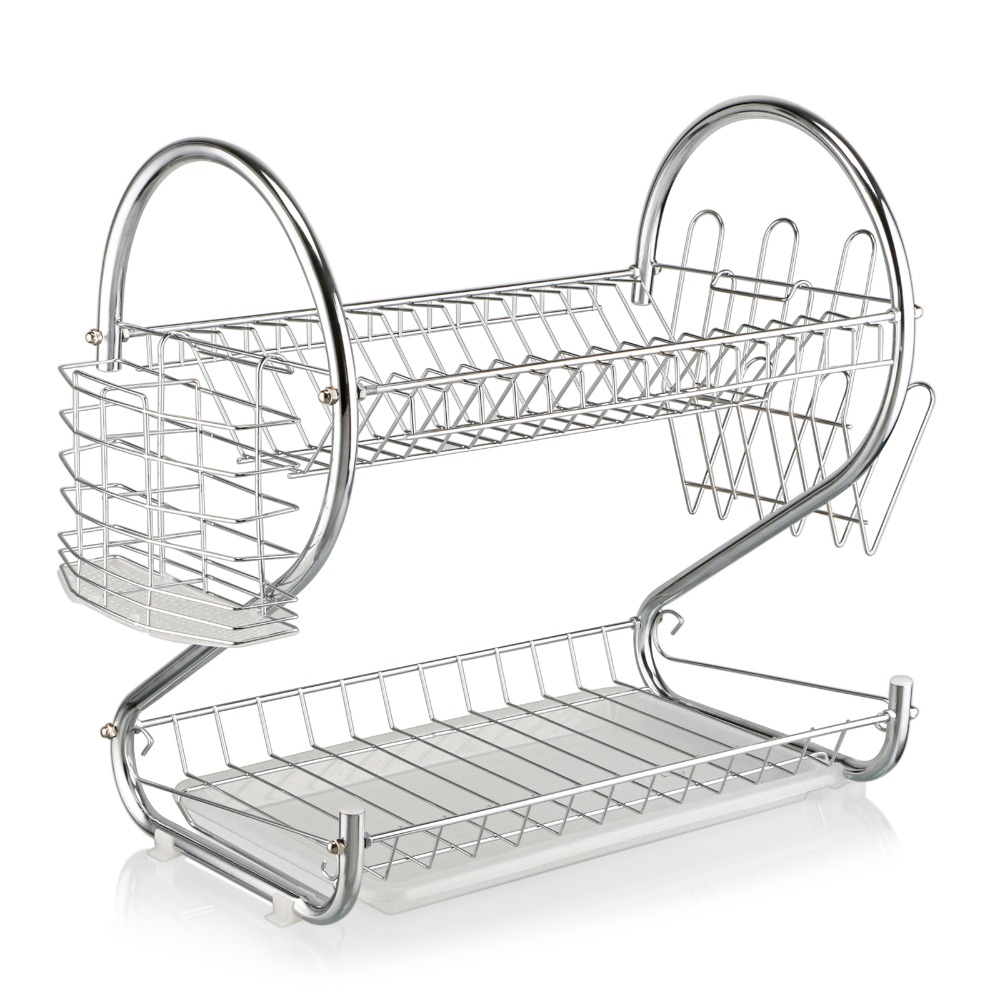 2 layer Chrome Kitchen Dish Cup Drying Rack Drainer Dryer Tray Cutlery Holder Organizer S-Shaped Dual Tier Cup Dish Holder kitchen dish rack 2 tier black dish drainer drying rack washing organizer large capacity holder