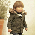 Baby Boys Winter Jacket in Army Green Thick Removable Fur Hooded Warm Coats Kids Boys Padded Winter Warm Outwear with Zipper