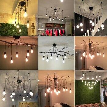 Vintage 8 spots plafond koord - excl. E27 lampen !!! 2