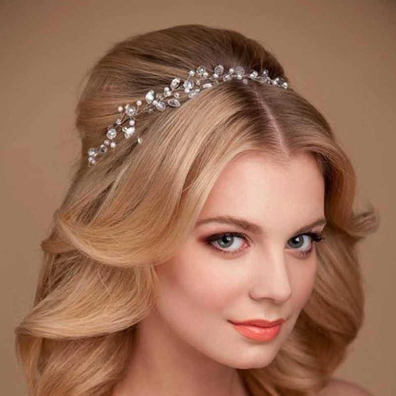 Diademas de diamantes de imitación banda de cadena para la cabeza Tiaras de novia vid boda accesorios para el cabello corona mujer Cinta Blanca cristal joyería para el cabello
