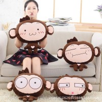 4 style cartoon monkey plush toys Warm Hand + Cushions + Blanket (3 in 1) Birthday gifts, Christmas gifts