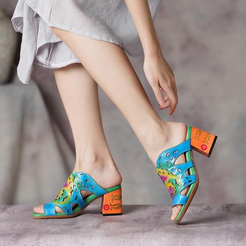 2019 Female Shoes High Heel Slides Shoes Woman Peep Toe Genuine Leather Block Heel Casual Slides