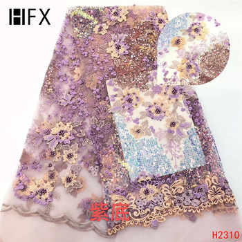 HFX African Lace Fabric 2019 High Quality Onion Color French Net Embroidery Sequins Lace Fabrics For Nigeria Party Dress F2310 - DISCOUNT ITEM  30% OFF All Category