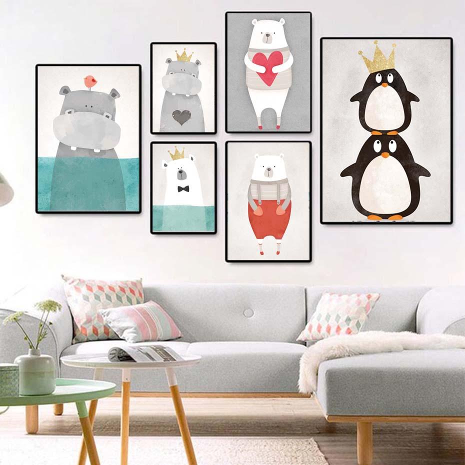 Rajzfilm állatok pingvin fal Art plakát és nyomtatás moduláris fal kép gyerekek óvoda hálószoba modern vászon festés lakberendezési falfestmények