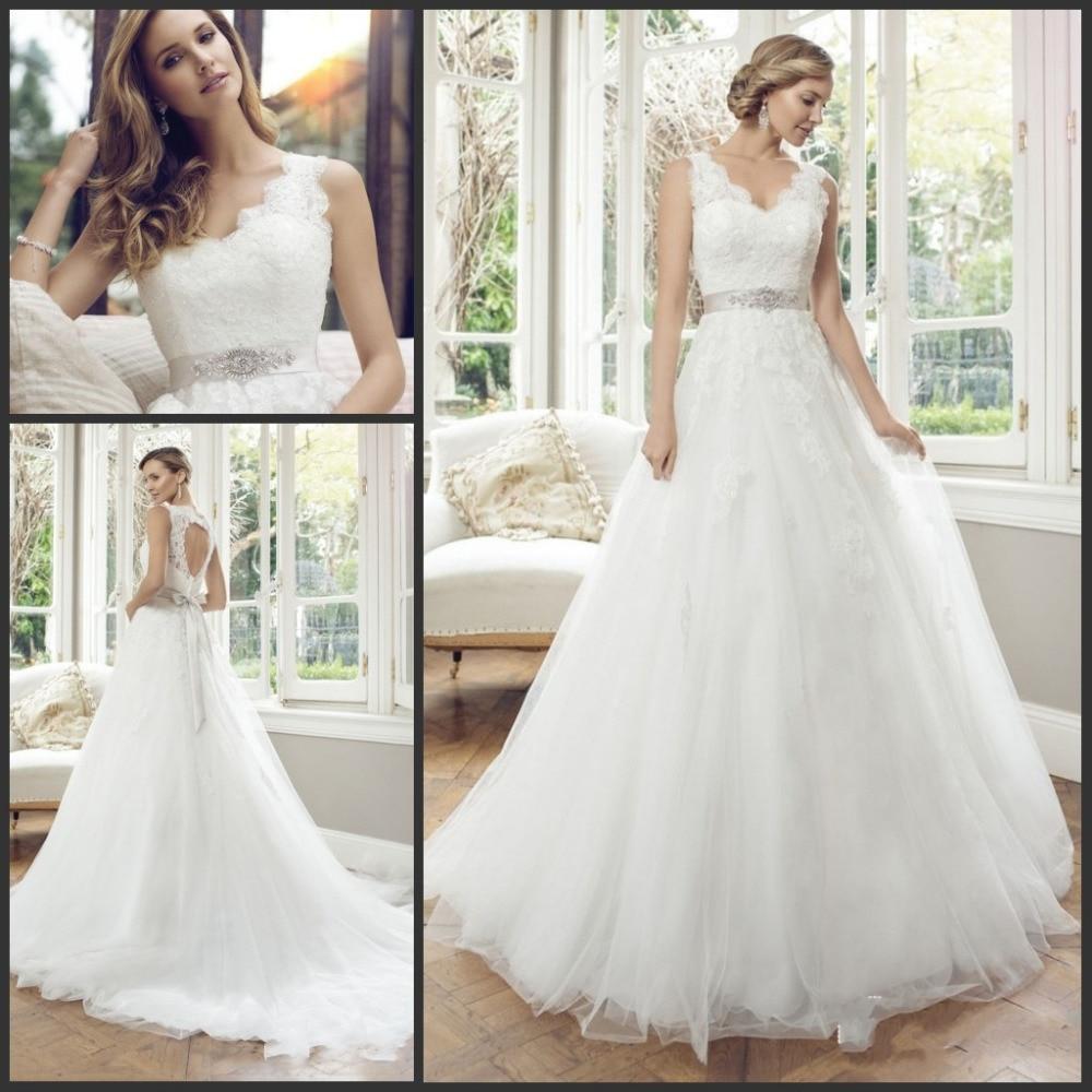 Vestidos De Noiva 2019 V Neck Open Back Sleeveless Bride Dress Lace Appliques Tulle Ball Gown