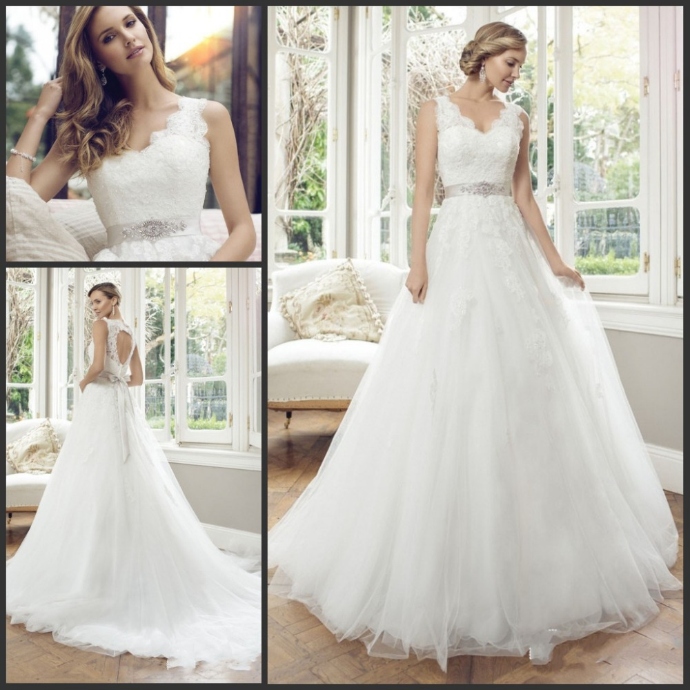 Vestidos De Noiva 2019 V Neck Open Back Sleeveless Bride Dress Lace Appliques Tulle Ball Gown Wedding Dresses Wish Sashes-in Wedding Dresses from Weddings & Events    1