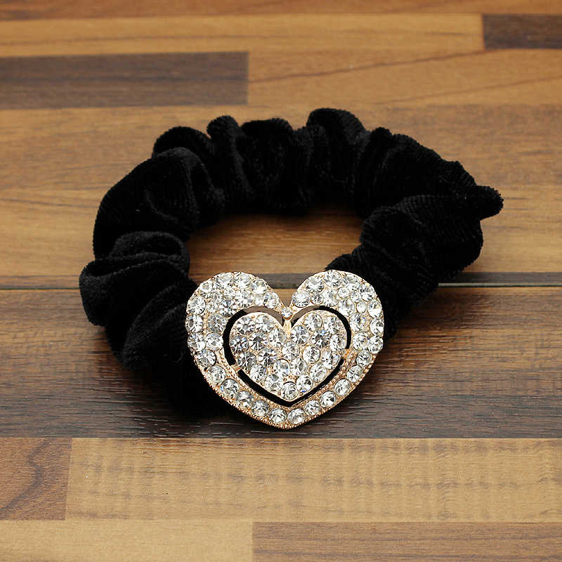 Women Hair Accessories Rhinestone Heart Ponytail Holder Girls Scrunchies Vintage Velvet Elastic Band Crystal Hair Rope Headdress