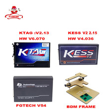 2016 Date Version ECU Programmeur KTAG V2.13 + V2.28 KESS V2 + FG TECH Galletto 4 V54 + BDM CADRE plein Adaptateurs Non Jetons DHL Livraison