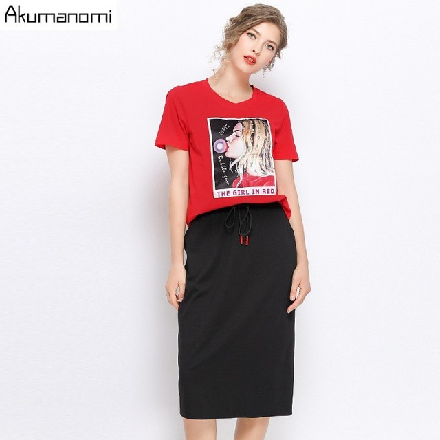 Two Piece Set Plus Size Summer 2019 New Suits O-Neck Short Sleeve Appliques Tshirt Mid-calf Skirt Card Pack Ensemble Deux Pièces