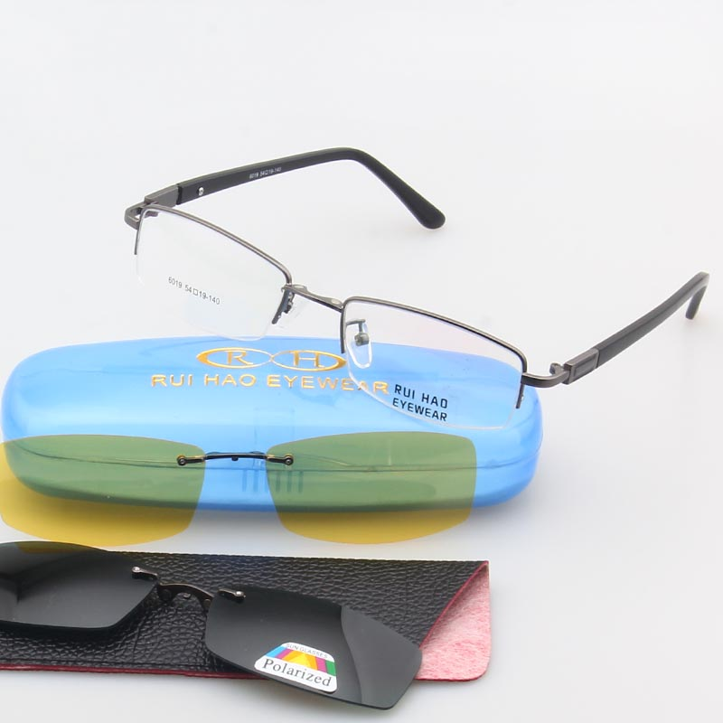 Unisex Eyeglasses Frame Optical Glasses Frame Men 2PCS Polarized Sunglasses Clip on Half Rimless Eyewear Spectacles