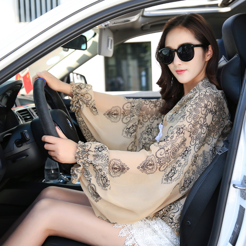 The Spring And Summer Women 's Sunscreen UV Arm Sleeve Sleeve Drive Chiffon Cloak Air Conditioning Shawl
