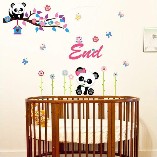 [Fundecor] cute cartoon panda wall sticker DIY kids room home wall decor vinilos decorativos pared infantiles