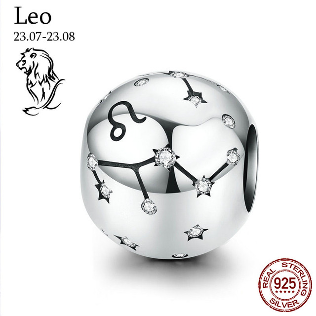 Genuine 925 Sterling Silver 12 Constellation Zodiac Round Beads Fit Original Pandora Bracelet Charms Jewelry