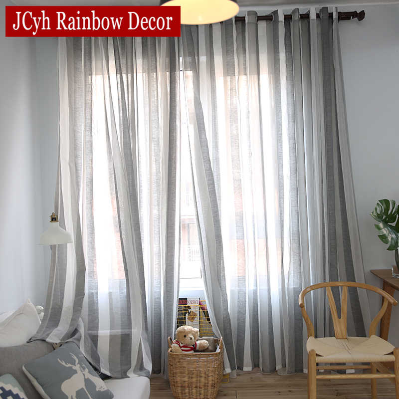 Japanese Style Stripe Sheer Tulle Curtains For Living Room Bedroom Voile Curtains For Window Gray Linen Curtains Fabric Drapes