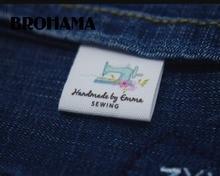 Швейные этикетки/фирменные этикетки, этикетки для одежды, швейная машина, ткань 100% хлопок, Пользовательский текст (MD534)