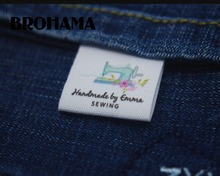 Sewing labels / custom brand labels, clothing labels, Sewing machine, fabric 100% cotton, custom text (MD534)
