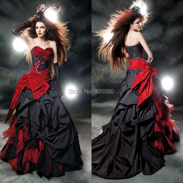 2016 por encargo rojo y negro vestido de novia piso longitud con