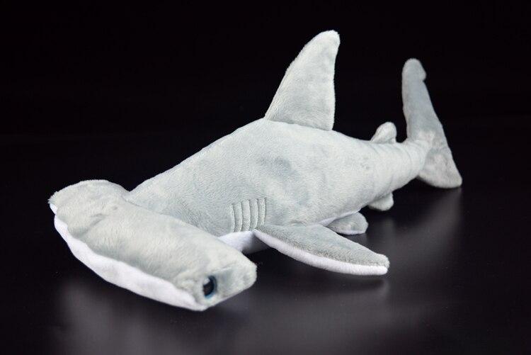15 Super Soft Hammerhead Shark Plush Toys Simulated Grey Shark Stuffed Toys Dolls Birthday Gift For Children mr froger smooth hammerhead shark sphyrna zygaena aquatic creatures wild animals toys set zoo modeling plastic solid fish model