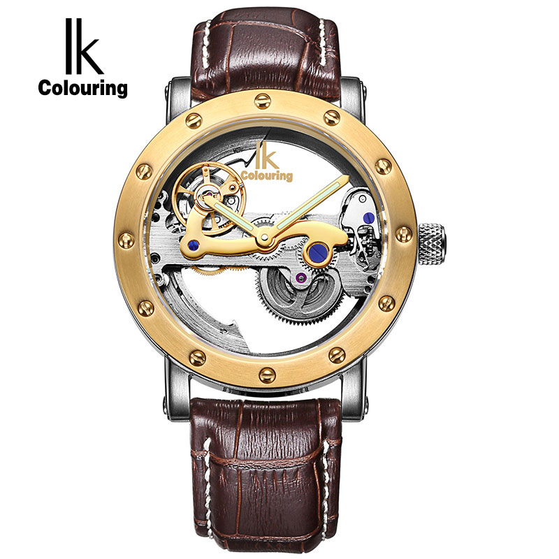 IK Top Brand Luxury Self Wind Automatic Mechanical Watches Men Rose Gold Case Genuine Leather Skeleton Watches relogio masculino