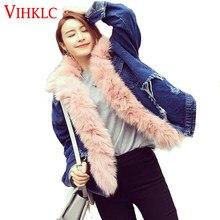 6a9623e4f8 Mulheres Jaqueta de inverno 2016 Das Senhoras Alta imitação de pele Forrada  Jaquetas Jeans Inverno Linhas Frete Grátis Feminino .
