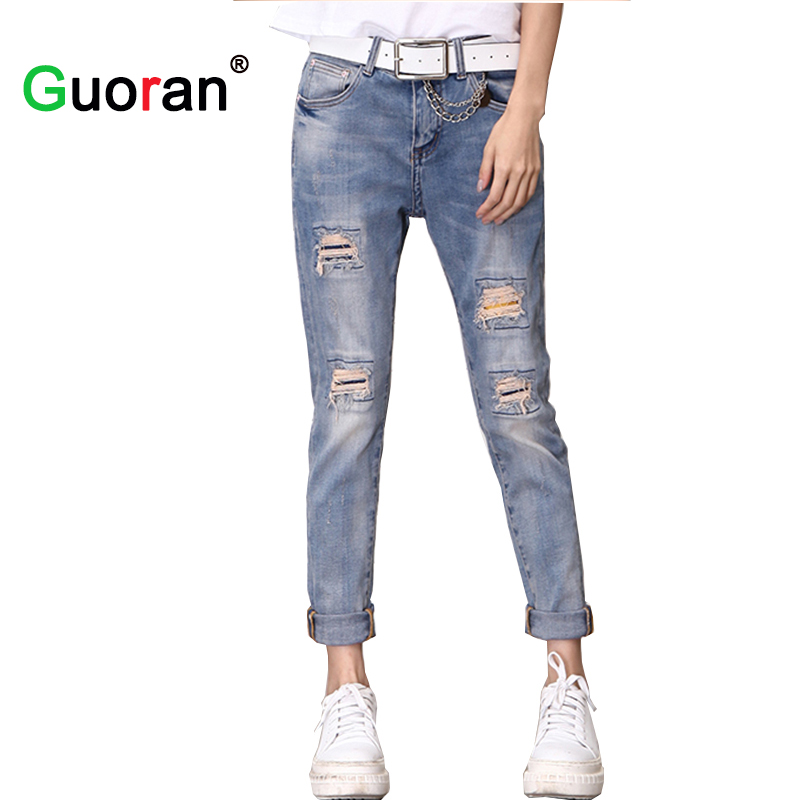 {Guoran} Ripped Jeans For Women Loose Boyfriend style 2017 Plus Size Jeans With Holes Denim Blue Trousers Ankle Length 25-32 цены онлайн