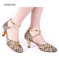 LEMOCHIC Ballroom Dance Double Stpes Jazz Tango Latin Good Quality Belly Comfortable Kitten Heels Professional Arena