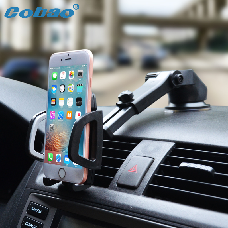 Cobao Car Mobile Phone Holder Stand Dashboard Windshield Universal 360 Adjustable Phone Car Holder for iPhone 7 6 5 4 Huawei