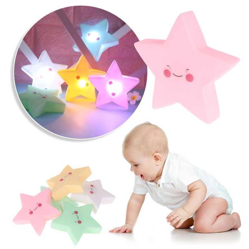 HBB 1 adet sevimli 3D yıldız LED gece lambası duvar uyku lambası bebek çocuk yatak odası ev dekor çocuk çocuk ışık oyuncaklar bebek uyku ışığı