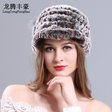 Winter Rex rabbit fur hat for women with Lateral flowers top knitted beanies fur hats 2017 new brand causal good quality caps цена