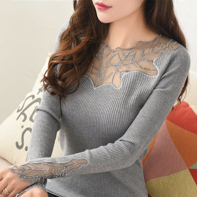 Women Pullovers 2016 New Cashmere Sexy Lace Pullover Sweaters Fashion Patchwork Hollow Out Elastic Knitted Tops Knitwear Mujer