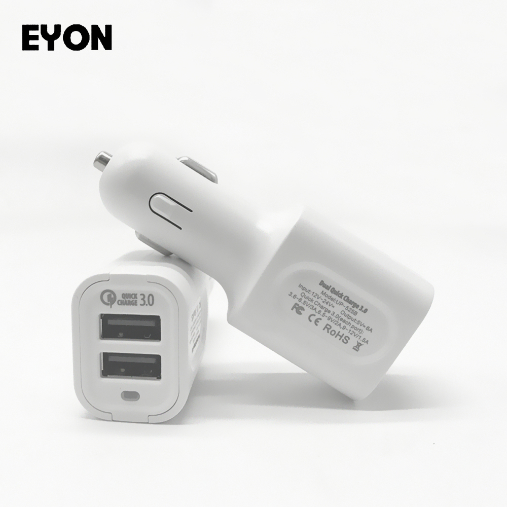 EYON For Quick Charge 3.0 <font><b>Charger</b></font> 36W Dual USB QC3.0 Car <font><b>Fast</b></font> <font><b>Charger</b></font> For iPhone 6S 7 SAMSUNG S6 7 8 Edge Plus HUAWEI P9 <font><b>LG</b></font> <font><b>G5</b></font> 6