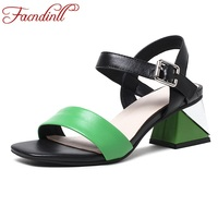 FACNDINLL Shoes 2018 New Summer Fashion Gladiator Sandals Shoes High Heels Peep Toe Shoes Woman Dress
