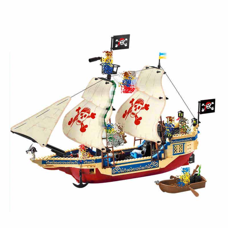 Models building 3D toys Enlighten 487Pcs Pirates Series Ship Building Blocks Compatible With Lego   toys & hobbies for children