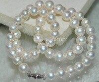 100% Продажа Full натуральный Переливающийся белый 8 9mm раунде жемчужное ожерелье