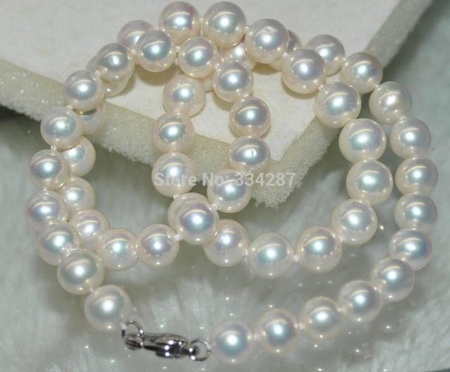 100% Venta Natural completo Del Arco Iris blanco 8-9mm Ronda Collar de Perlas cultivadas