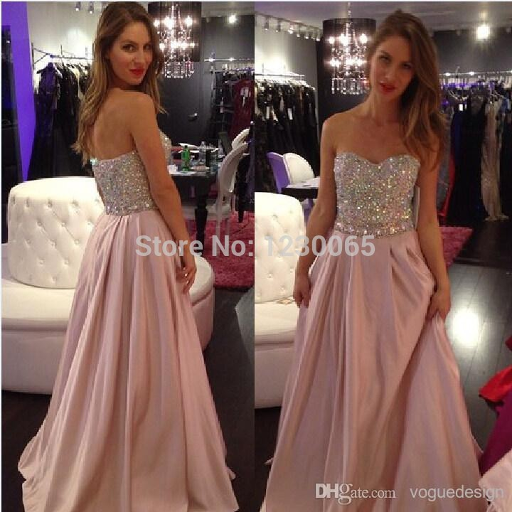 2018 New Style Real Photo Beaded Meat Pink Color Backless Formal gowns long prom   dress   Custom free shipping   bridesmaid     dresses