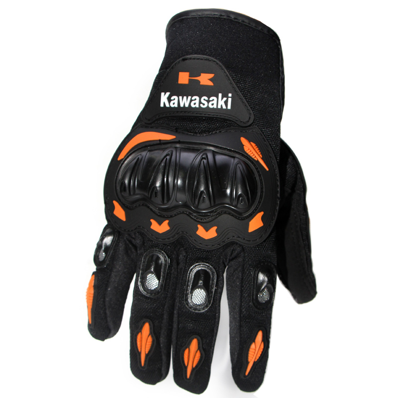 Kawasaki Full Finger Guantes Motorcycle Gloves Red Orange Colors Motorbike Motocross Motos Protective Gears Glove M - XXL Size