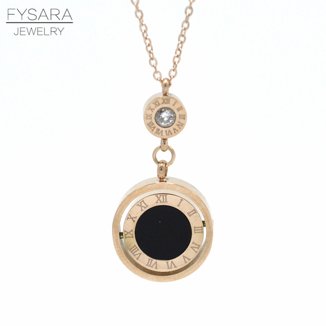 Fysara Famous Brand Double Circle Roman Numeral Necklace