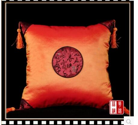 Chinese cushion cover classical pillowcase Imitation silk chameleon back four corners hanging spike sofa pillowcase