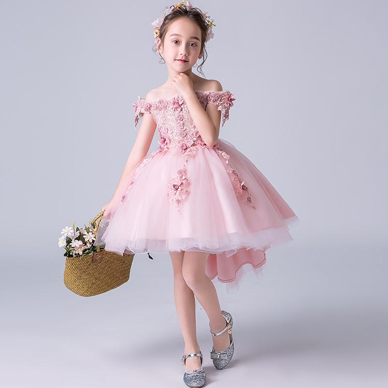 Flower Girls Dress Children Evening Kids Dresses For Girls Princess Dress Lace Teenagers Wedding Party Dresses Summer Clothing