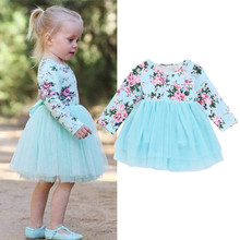 LILIGIRL Dresses For Girls Newborn Infant Baby Girl Clothes Floral Princess Tutu Tulle Party Dresses New Spring Long Sleeve Dres
