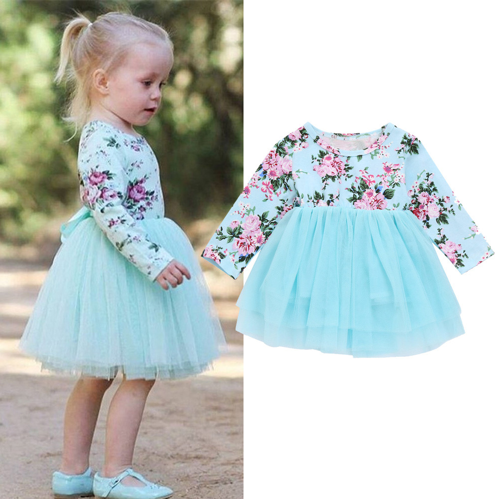 MUQGEW dresses for girls Newborn Infant Baby Girl Clothes Floral Princess Tutu Tulle Party Dresses New Spring Long Sleeve dress