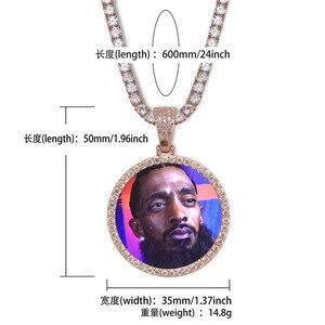 Image 5 - Medallones de memoria personalizados para fotos, COLLAR COLGANTE macizo con cadena de tenis, joyería de Hip Hop, cadena de circonia cúbica personalizada, regalo