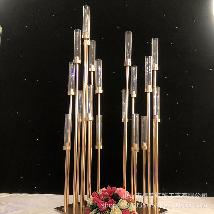10PCS Metal Candlesticks Flower Vases Candle Holders Wedding Table Centerpieces Candelabra Pillar Stands Party Decor Road Lead